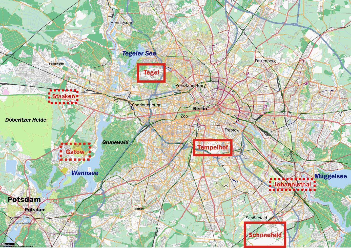 Kort Over Berlin Viser Lufthavne Kort Over Lufthavne I Berlin