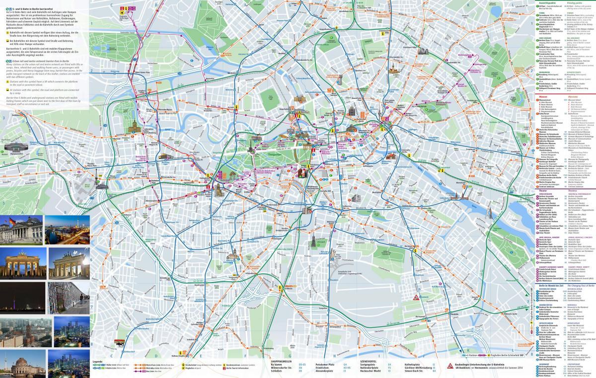 Berlin Turistattraktioner Kort Berlin Bykort Med Sevaerdigheder